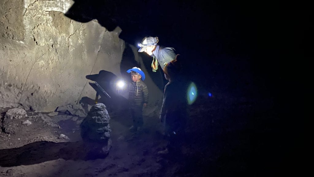 Reading in the Dark at Subway Caves - Lassen with Kids