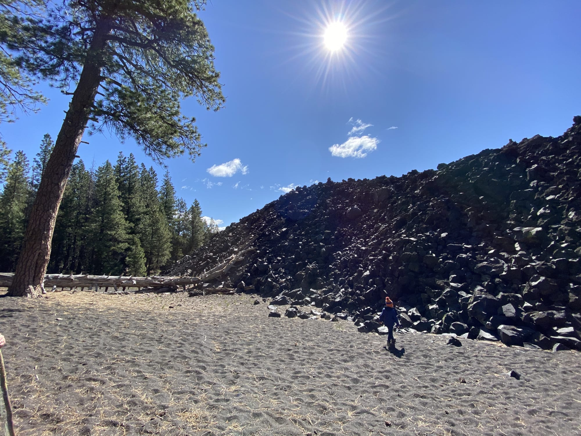 JJ inspecting the Fantastic Lava Beds - Lassen Family Road Trip