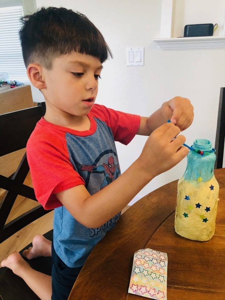 JJ Beading the Handle: Lantern Camping Craft for Kids