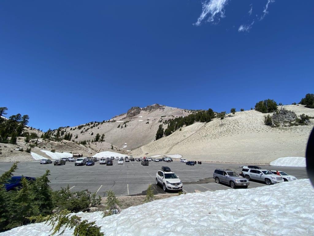 Lassen Peak Trailhead Lot with some snow - Lassen with Kids