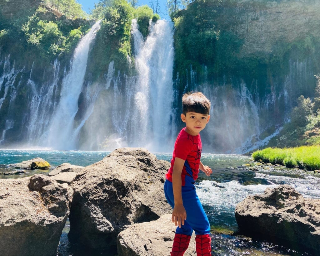 JJ Rock Scrambling at Burney Falls State Park - Lassen National Park with the Kids