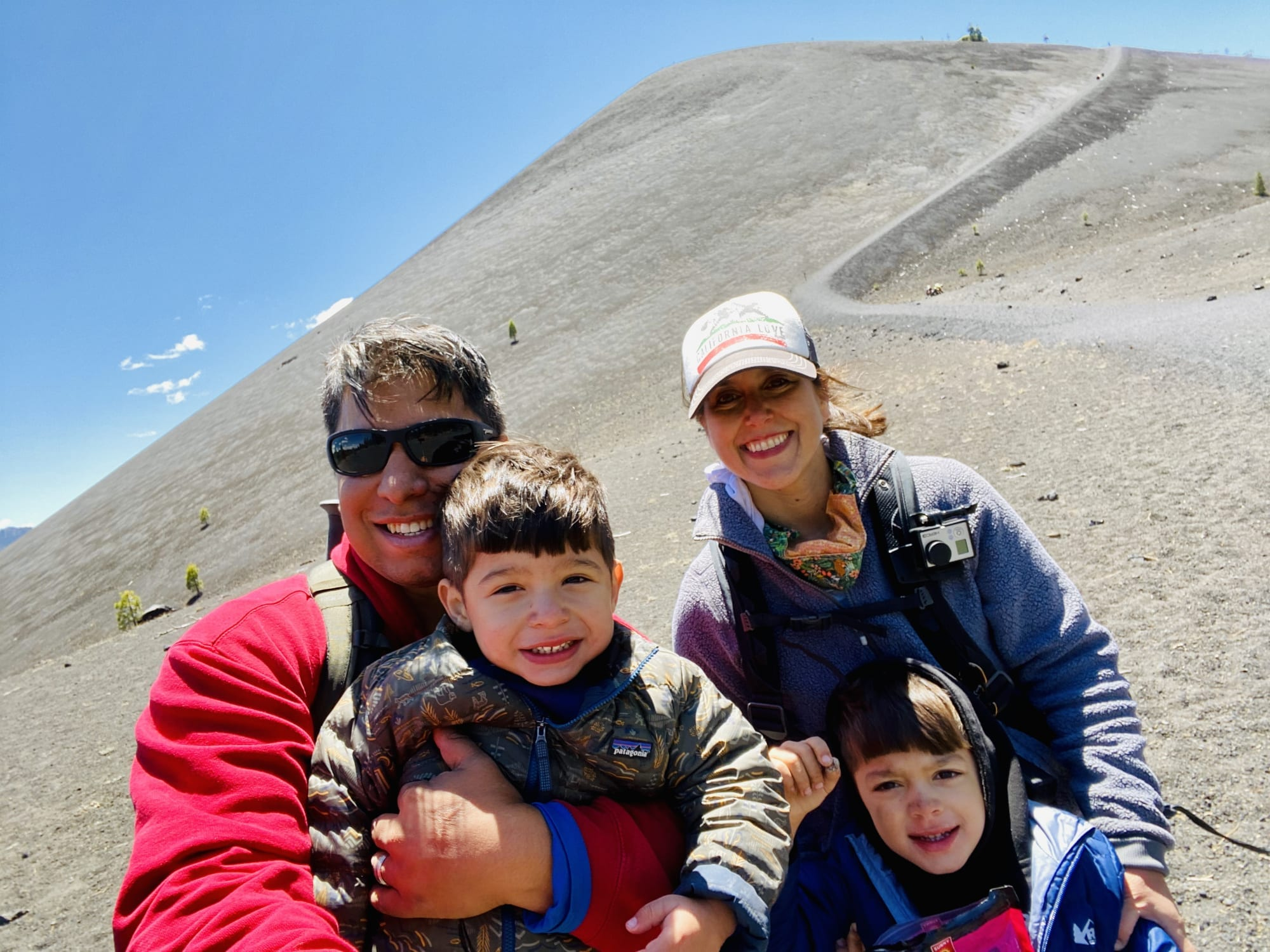 We did it! Family photo after hiking Cinder Cone - Lassen Family Road Trip