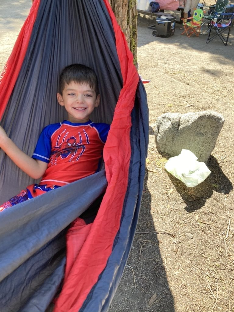 JJ in a Camping Hammock at Dinkey Creek Campground