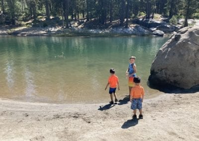 This cove at Shaver Lake was perfect for the boys to play in all day.