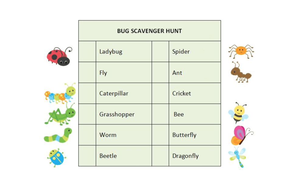 Moms and Munchkins Nature Scavenger Hunt: Bugs