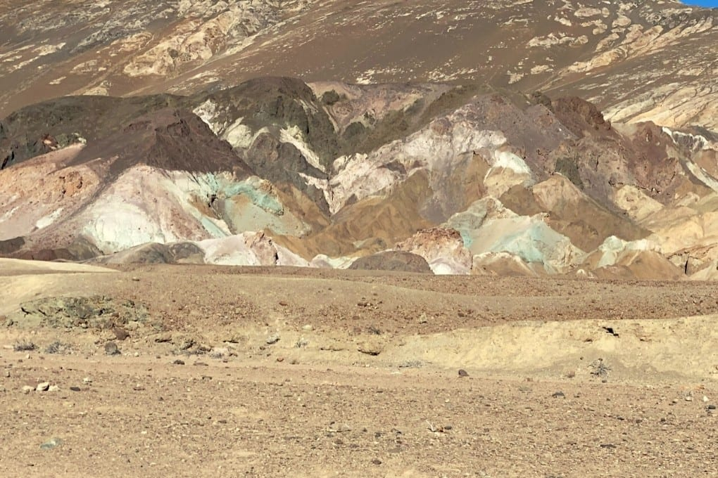 Views of the blue and pink mountains on Artists Drive in Death Valley National Park