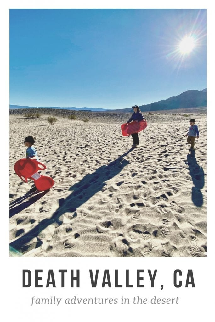 death valley post pin. Image is of us sandboarding on the Mesquite Sand Dunes