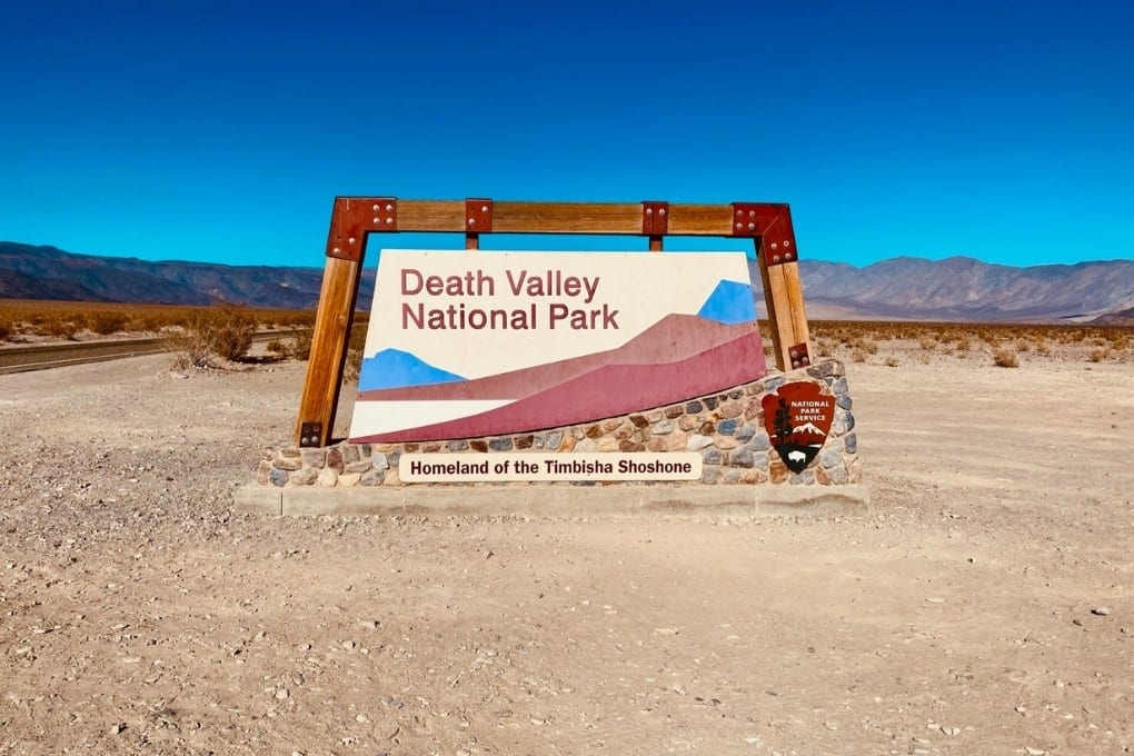 The Death Valley National Park welcome sign