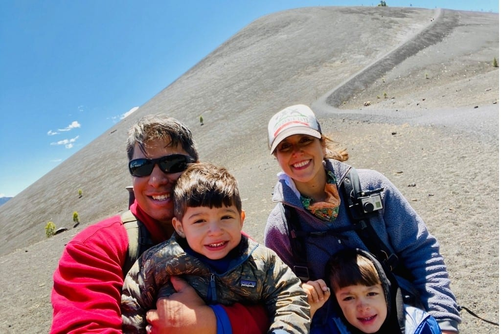Family photo taken just after descending Cinder Cone Volcano in the Butte Lake area of Lassen National Park