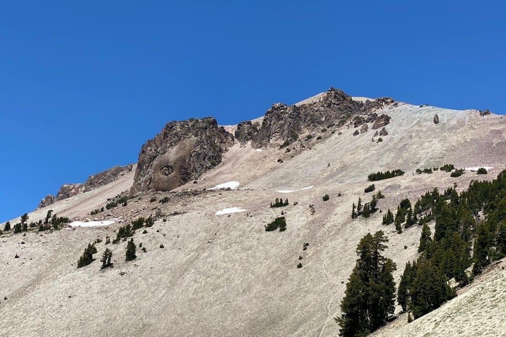 View of Lassen Peak from the trailhead parking lot