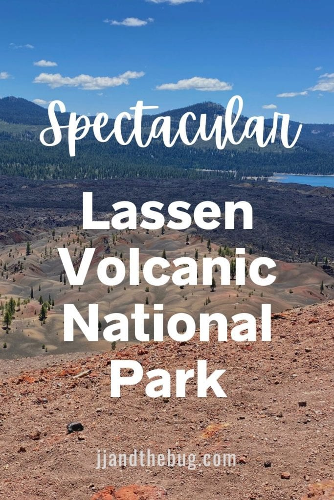 Pin for Lassen with Kids Post - view from Cinder Cone volcano of Fantastic Lava Beds, Painted Dunes, and Snag Lake