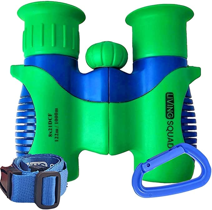 Our Top Pick for Kids Binoculars - Living Squad Kids Binoculars, 8X21 in Green and Blue