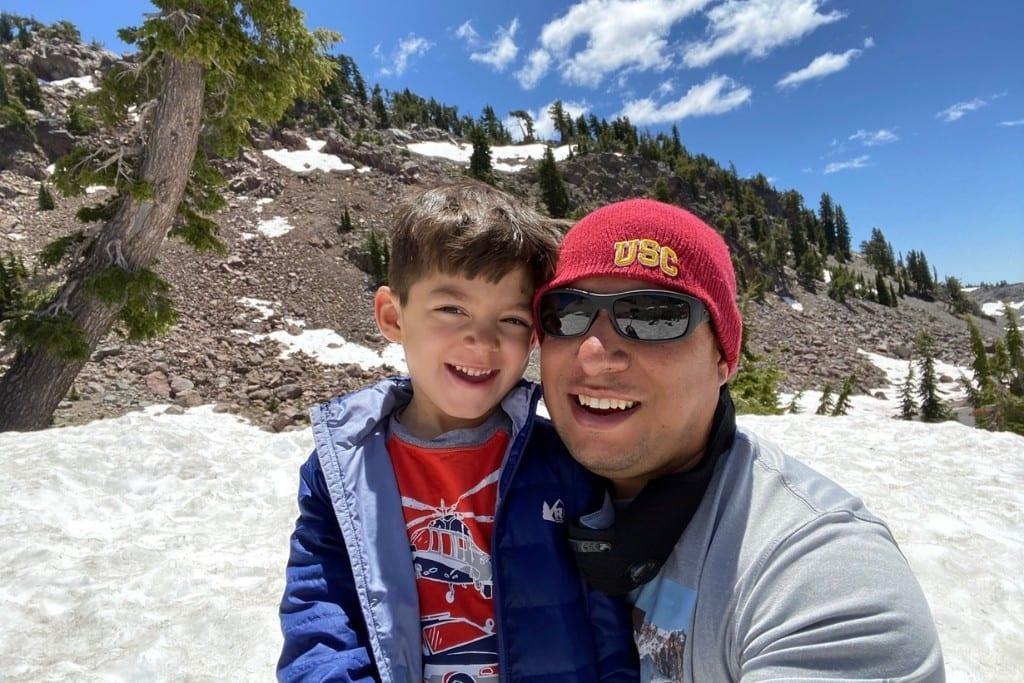 Playing in snow near Lassen Peak in July