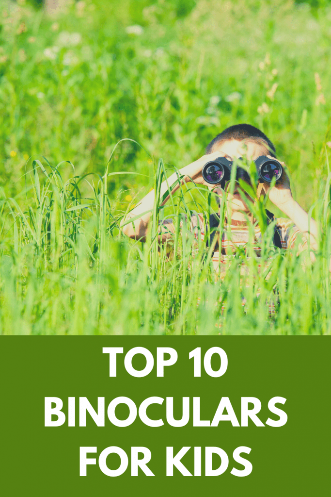 Pinterest Pin for the article, top 10 binoculars for kids