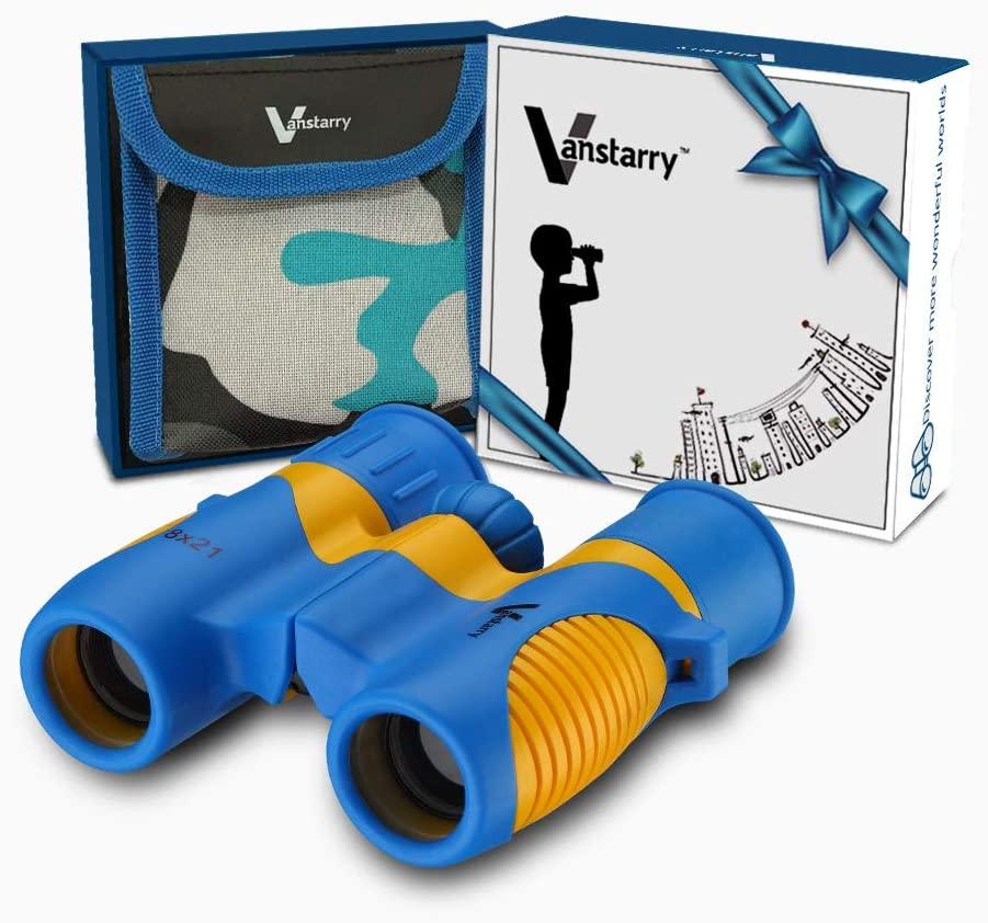Blue and Orange Vanstarry Kids Binoculars with Case