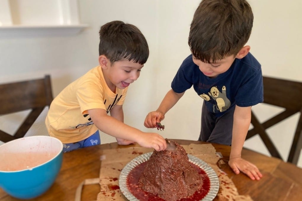 Playing with our Rice Krispie volcano