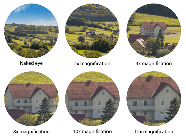 Magnification Grid that visually explains what each magnification level will look like in the field