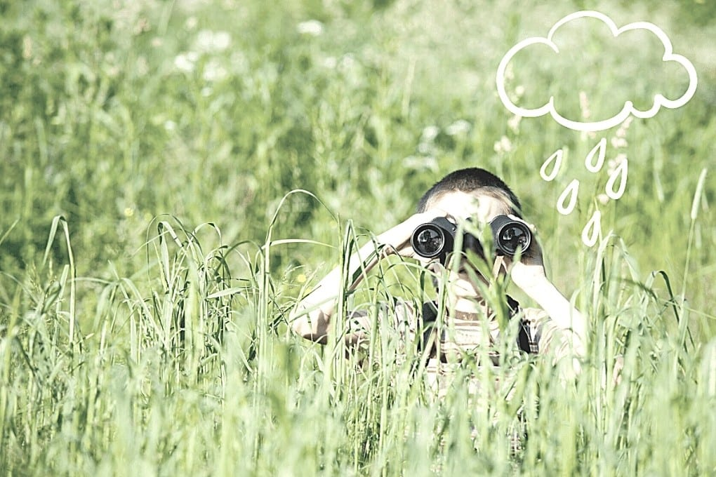 graphic that shows a drawn raincloud over a child using binoculars in a field.