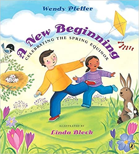 A New Beginning book cover - children flying a kite in the midst of a spring meadow, with bunnies and bird nest