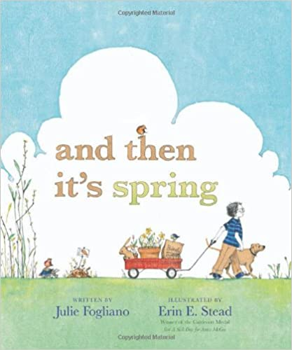 And Then It's Spring book cover - a boy and his dog, pulling a wagon full of garden supplies