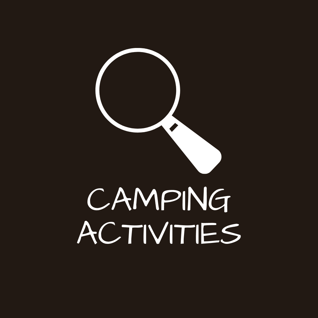 Button to skip ahead to Camping Activities (Graphic of a Magnifying Glass)