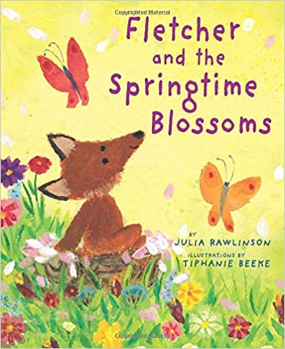 Fletcher and the Springtime Blossoms - a simple drawing of a fox in a meadow with butterflies