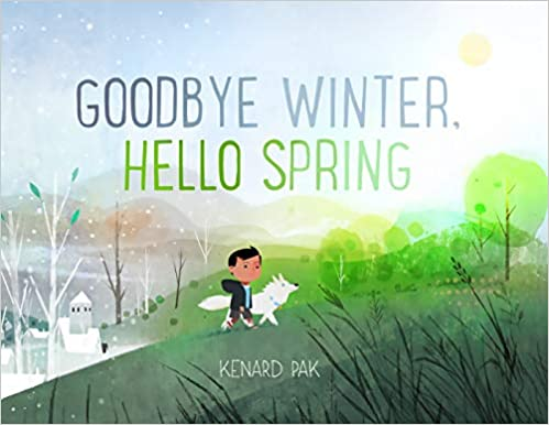 Goodbye Winter, Hello Spring - a boy and his dog walking on a hill. A winter spring is behind him and green trees and grasses are in front of him.