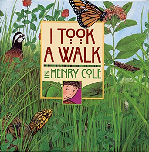 I Took a Walk Book Cover - marsh with reeds, leaves, animals and insects