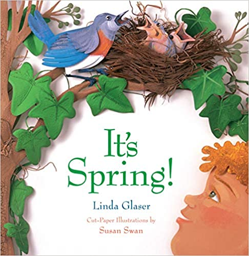 It's Spring Book cover - photographed cut paper, a boy looking up at a bird with it's next and chicks in the tree