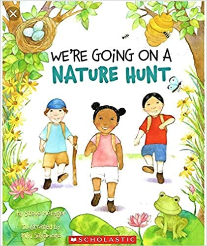 We're Going on a Nature Hunt book cover - three children walking, one with walking sticks, encircled by leaves, blossoms, frogs, bees, birds