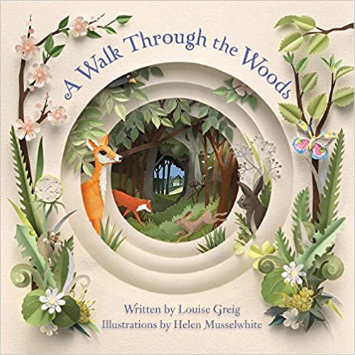 A Walk Through the Woods book cover - a series of concentric circles, each with animals and plants coming through