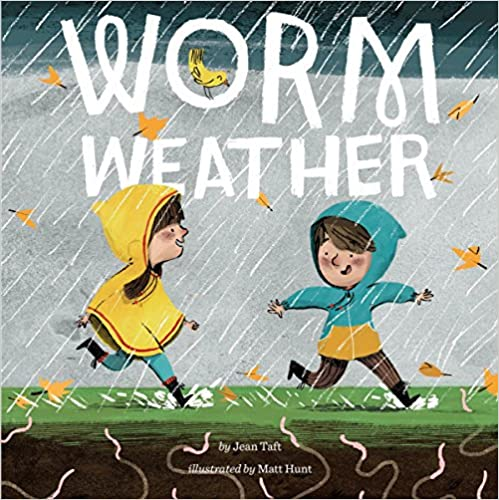 Worm Weather Book Cover - children playing in the rain