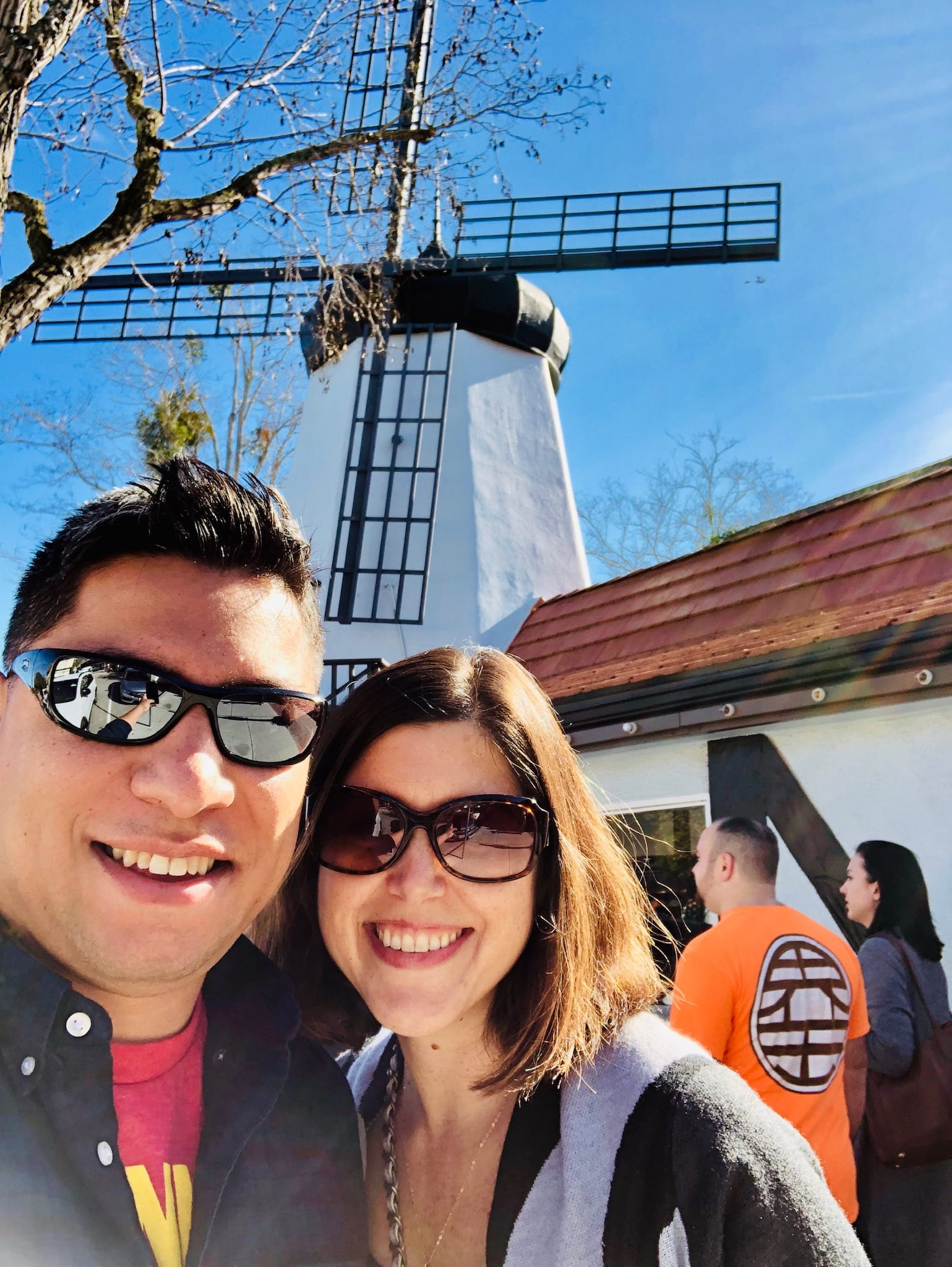 John and Kirsty in front of a Solvang windmill