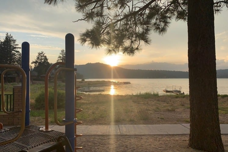Big Bear Lake as seen from Playground at sunset