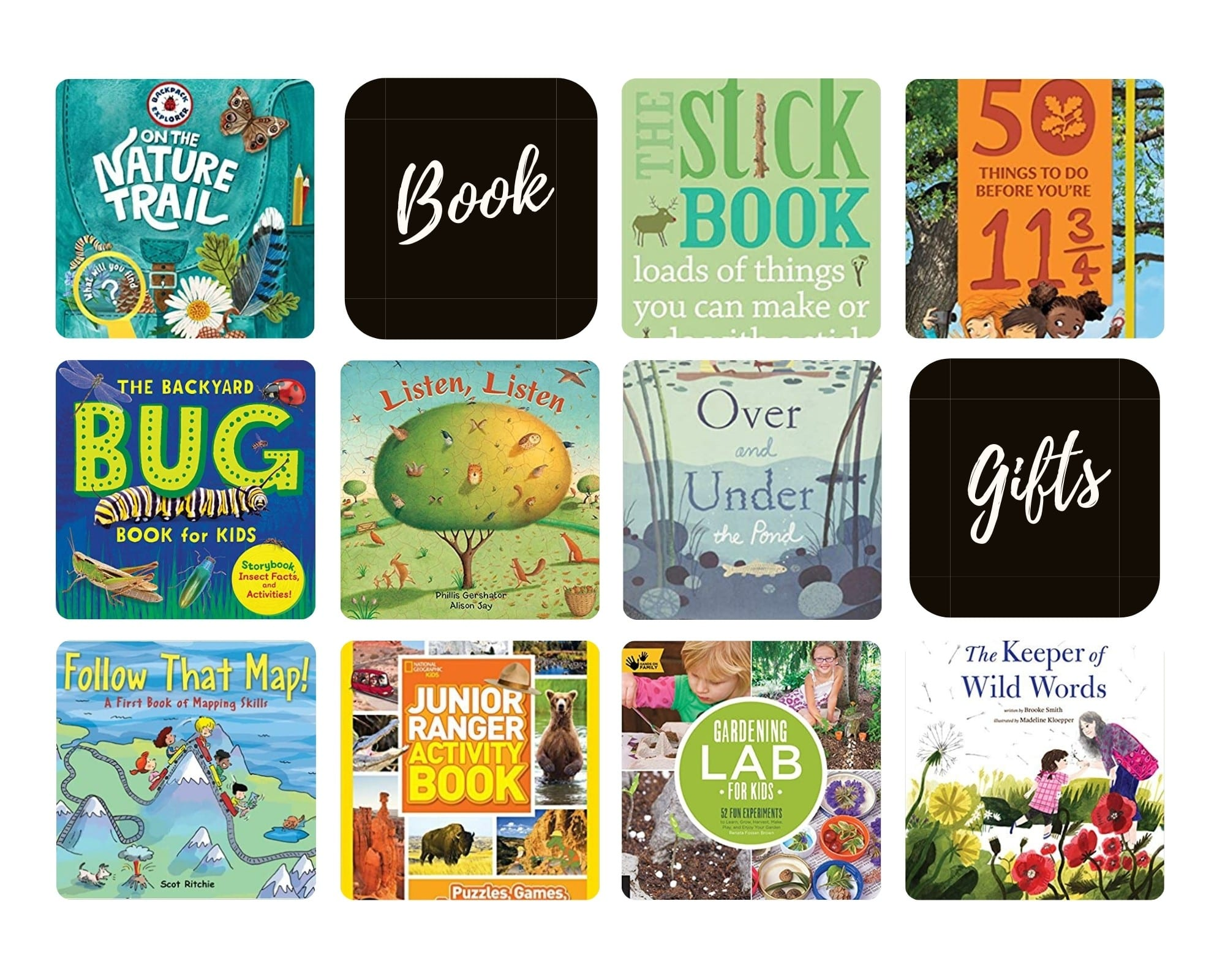 Product Images of all 10 Book Gift Ideas for Outdoorsy Kids to follow