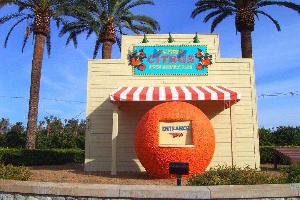 California Citrus State Park entrance is a giant orange