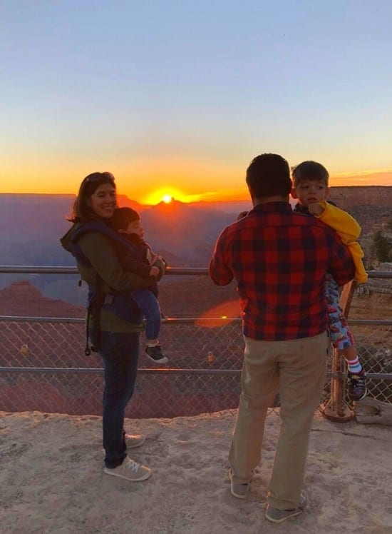 A happy family road trip moment: Grand Canyon at sunrise