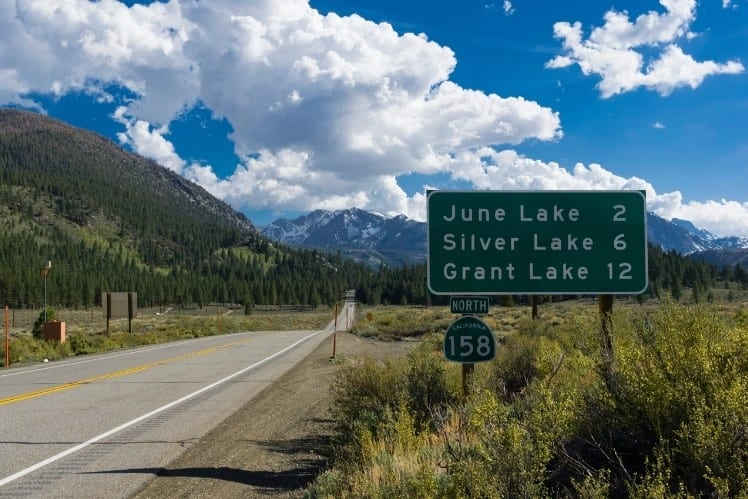 Road Sign for Lakes on the June Lake Loop
