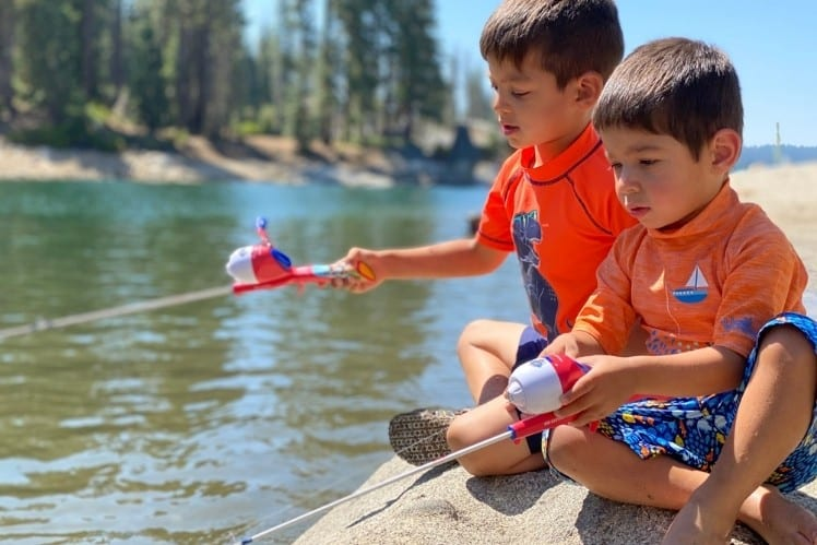 JJ and Bug Fishing at Shaver Lake
