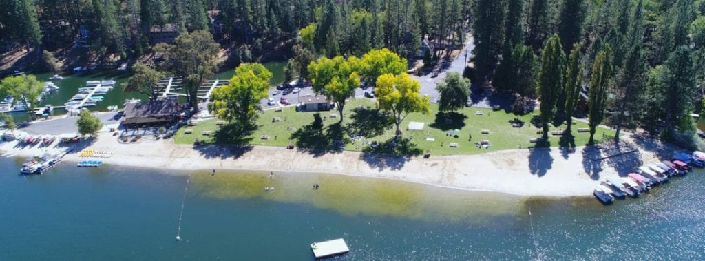 Aerial view of Pine Mountain Lake Beach and Marina