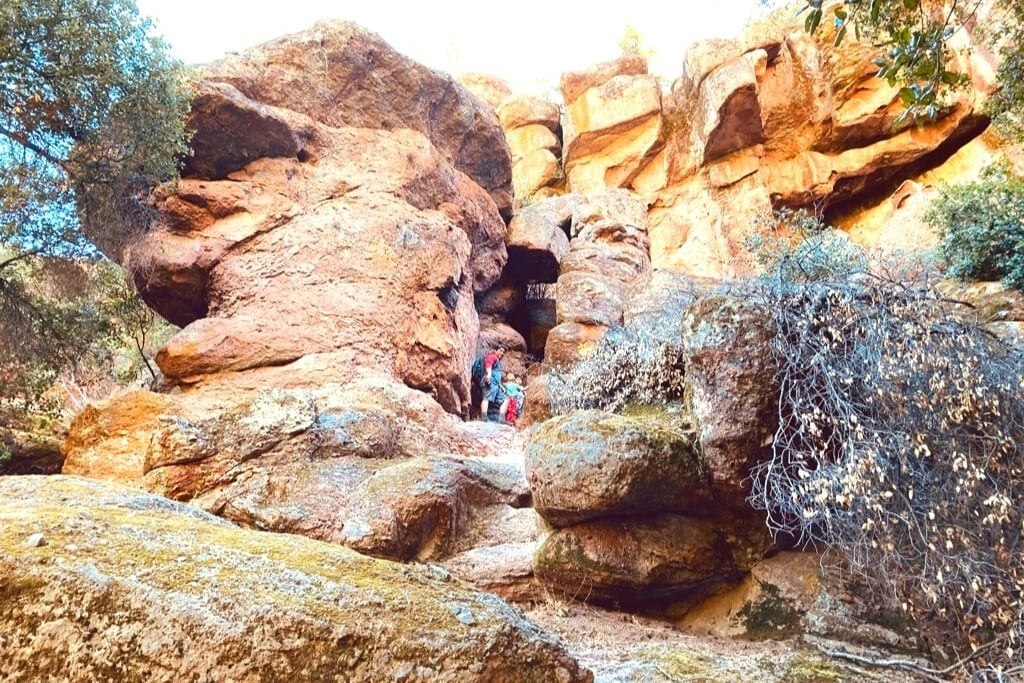 Rock scrambling on the Moses Spring Trail during our Pinnacles Day Trip.