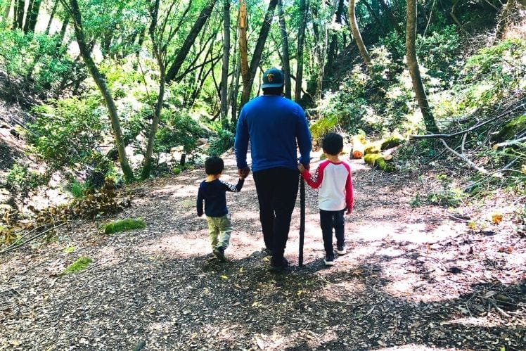 John and the kids toward the end of the Uvas Waterfall Loop