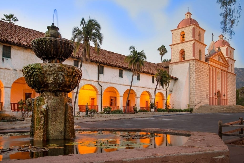 Old Mission Santa Barbara at sunset.