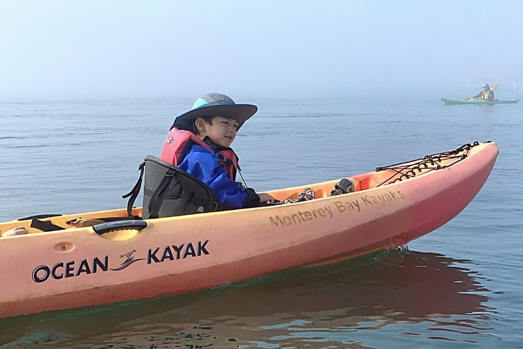 JJ's first time in a kayak, the Elkhorn Slough Kayak Tour