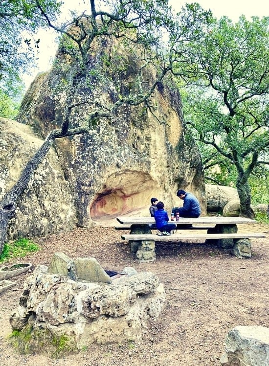 Rock City picnic area in the grotto. Even the BBQ is constructed out of rocks
