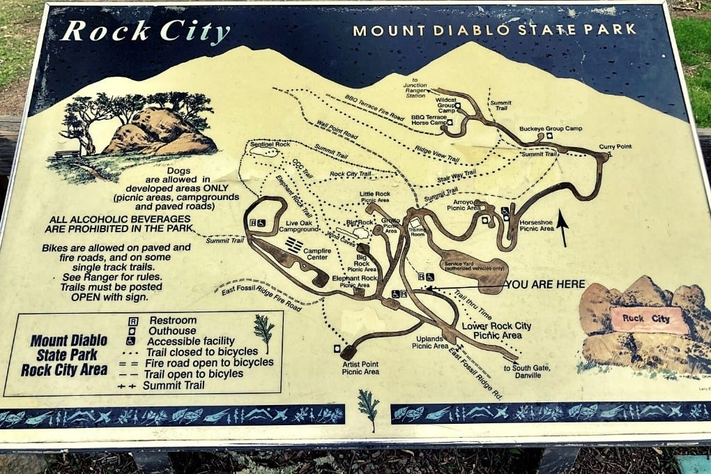 Photographed area map of trails, picnic areas, and landmarks taken onsite.
