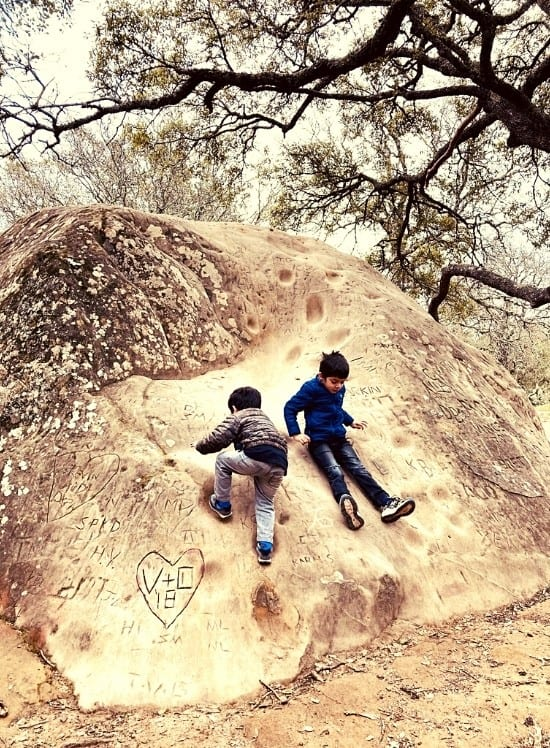the boys made slides out of the rocks near our picnic area in the Grotto