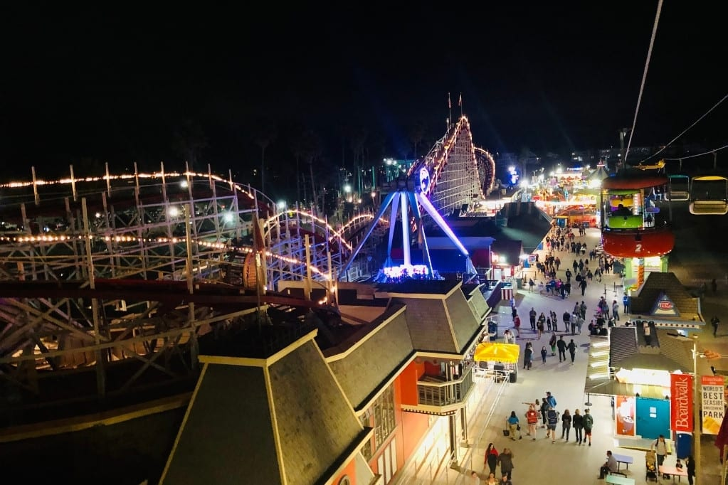 Santa Cruz Beach Boardwalk at Night. This is a must on a Highway 1 road trip with kids.