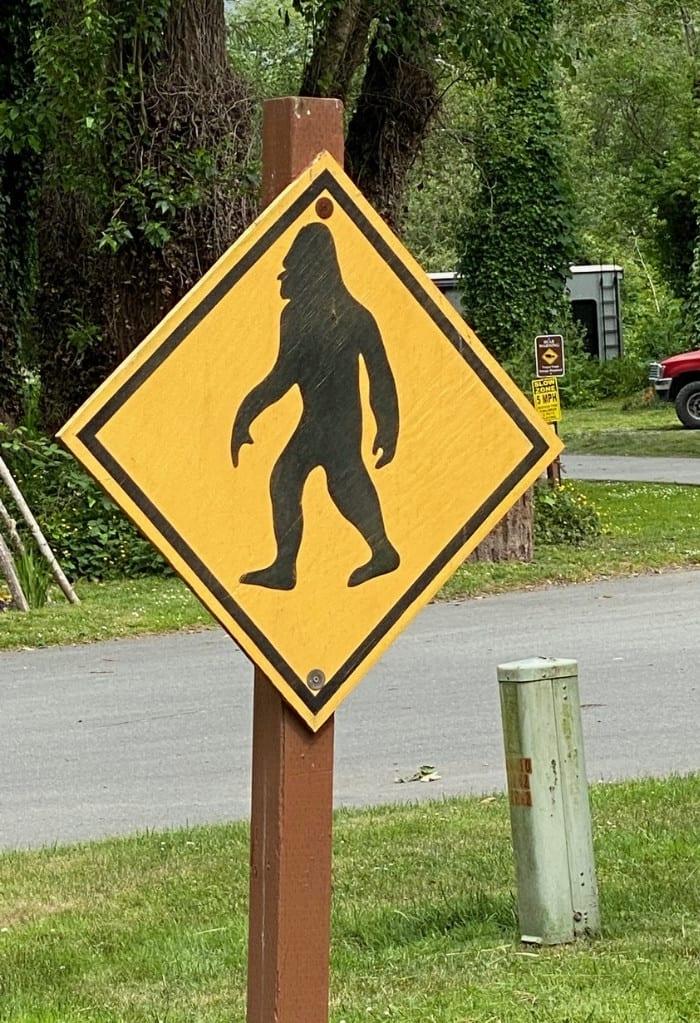 Bigfoot Crossing Signs in Redwood National Park