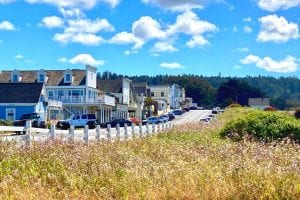 Main Street Mendocino as seen from the Marin Headlands State Park